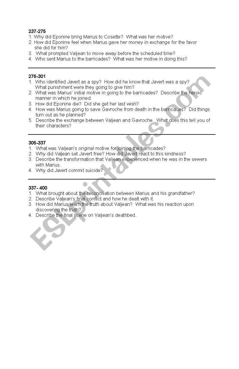 worksheet Les Miserables Worksheet english worksheets guide questions for les miserables