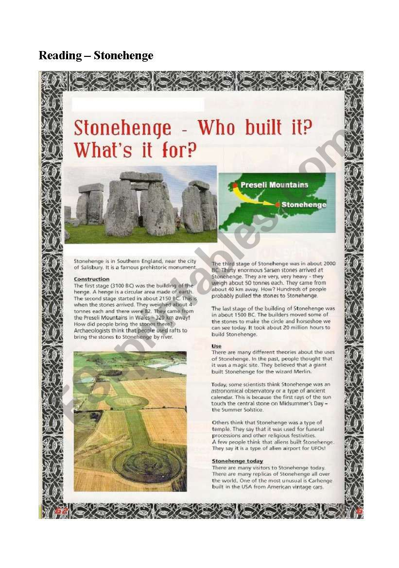 A READING ON STONEHENGE worksheet