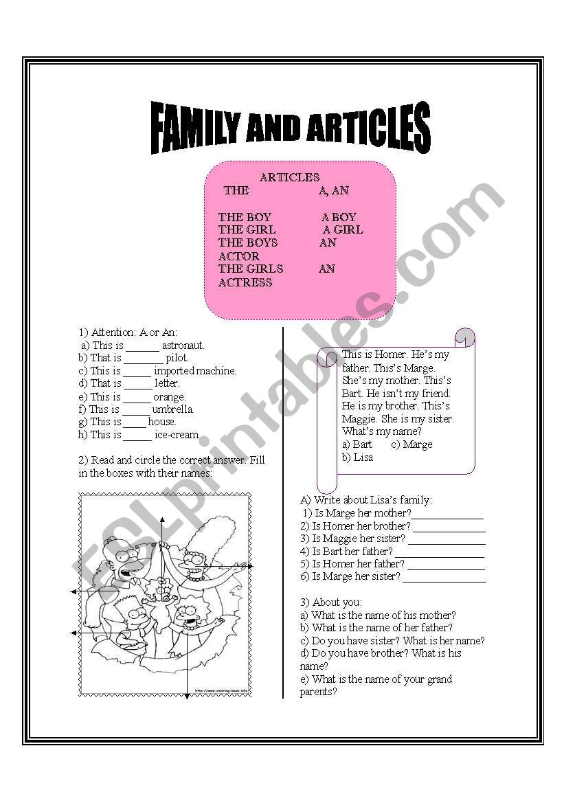 Article and family worksheet