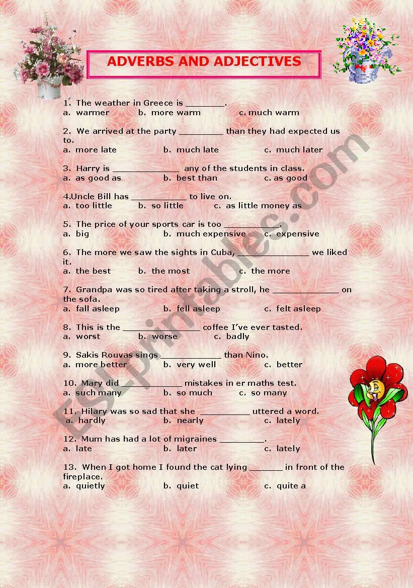 ADJECTIVES AND ADVERBS 1,, worksheet