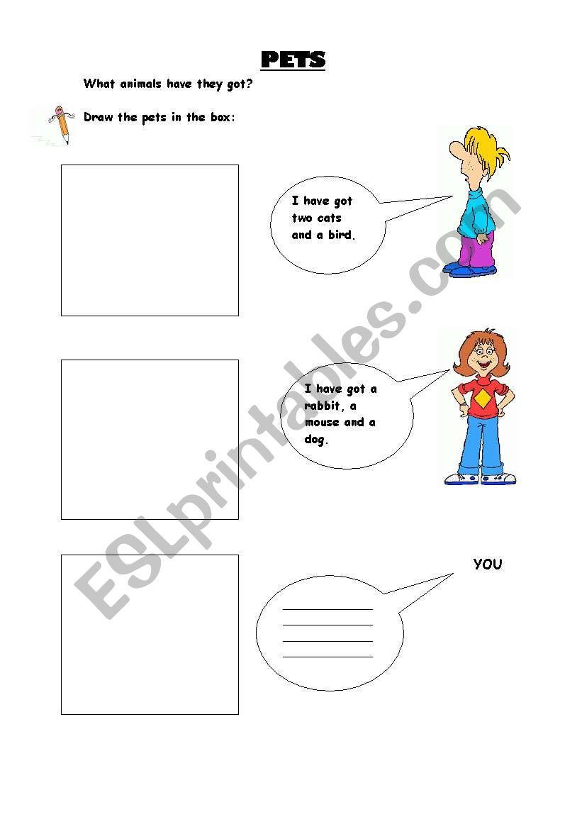 PET DRAW worksheet