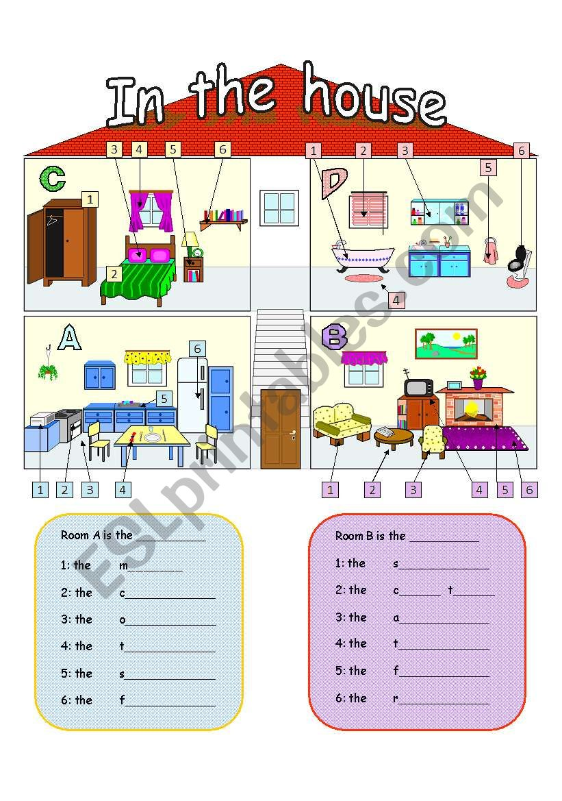 Rooms Worksheet: In The House: Rooms And Furniture
