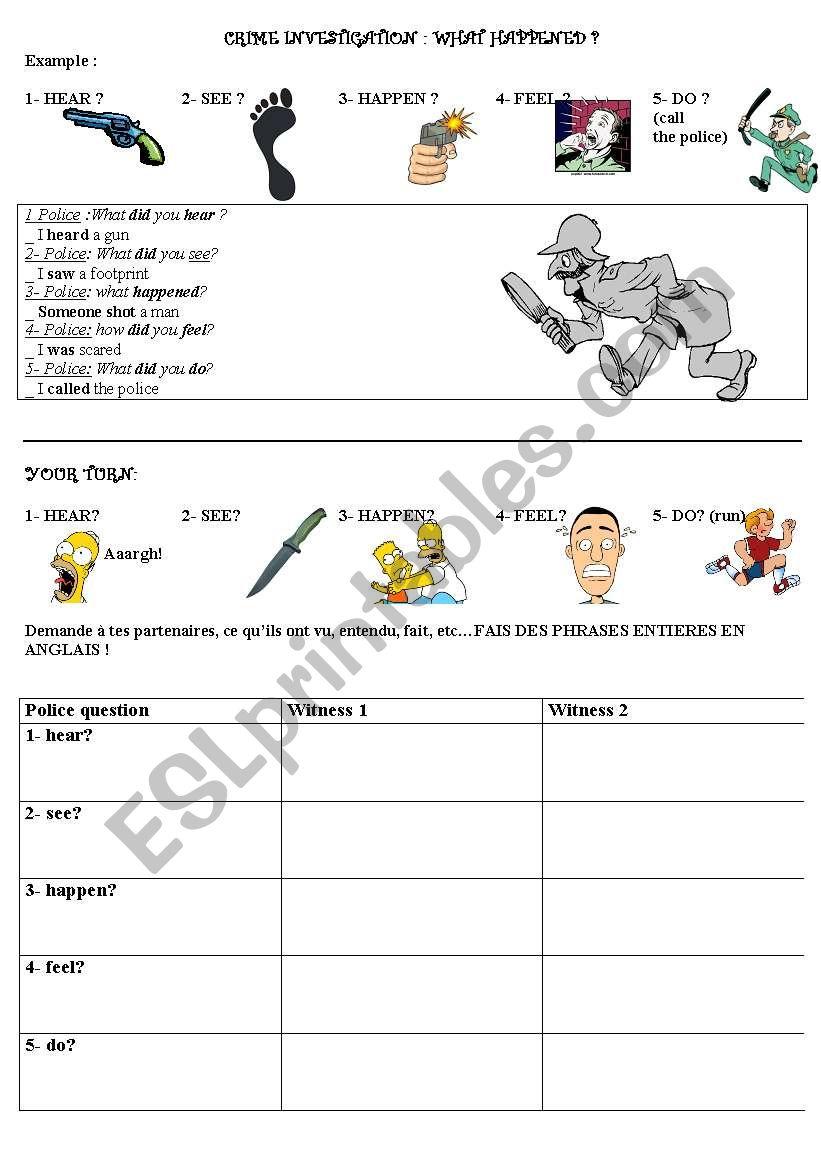 crime investigation -detective story worksheet 1