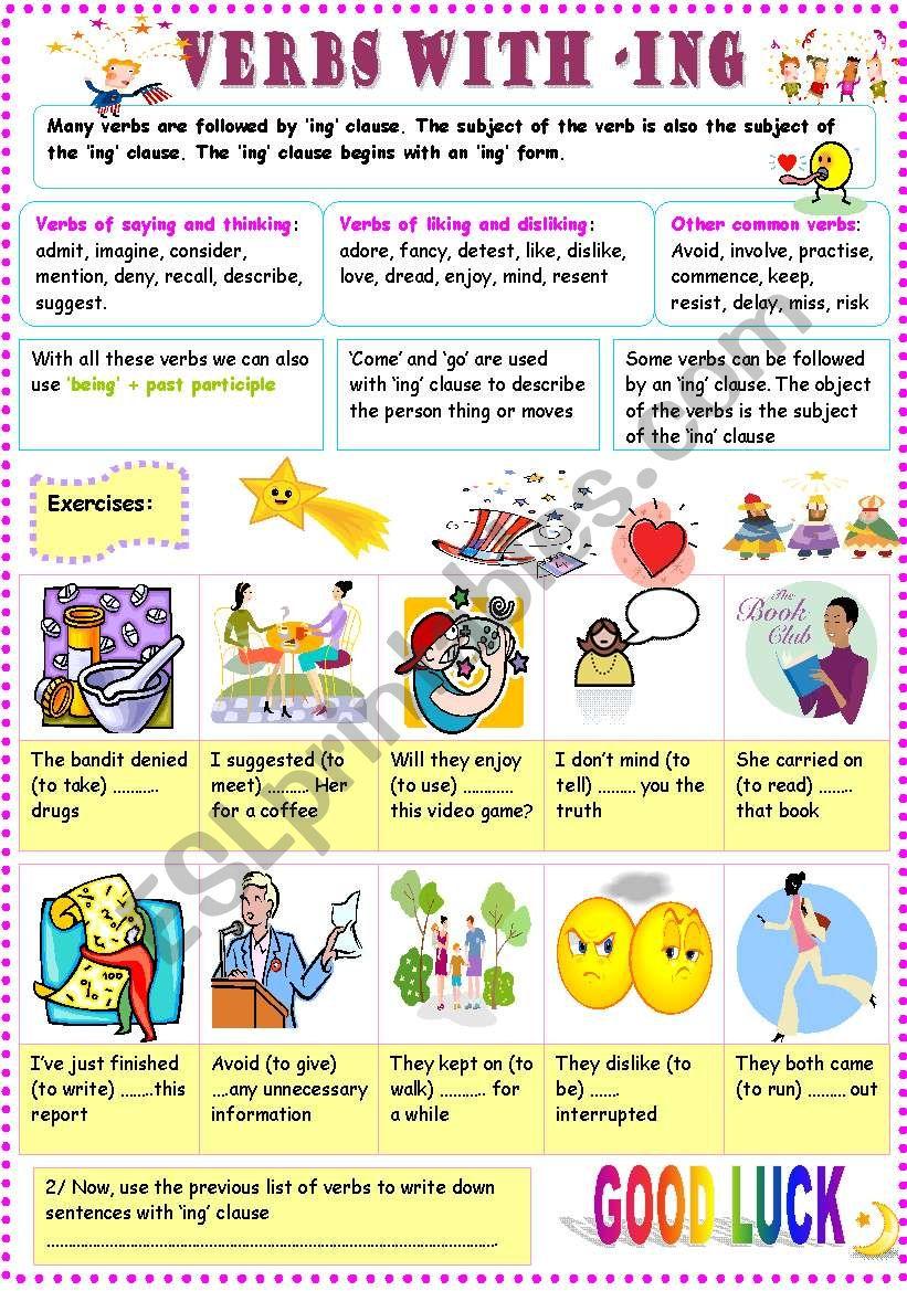 ING CLAUSE worksheet