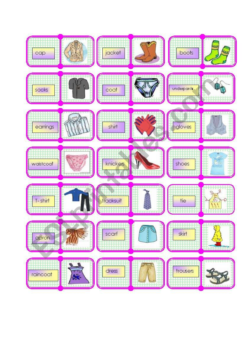 clothes domino 1 /2 worksheet