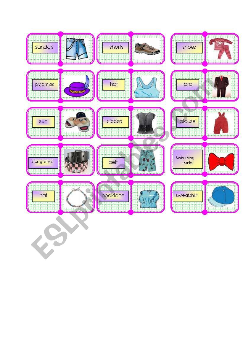 clothes domino  2/2 worksheet