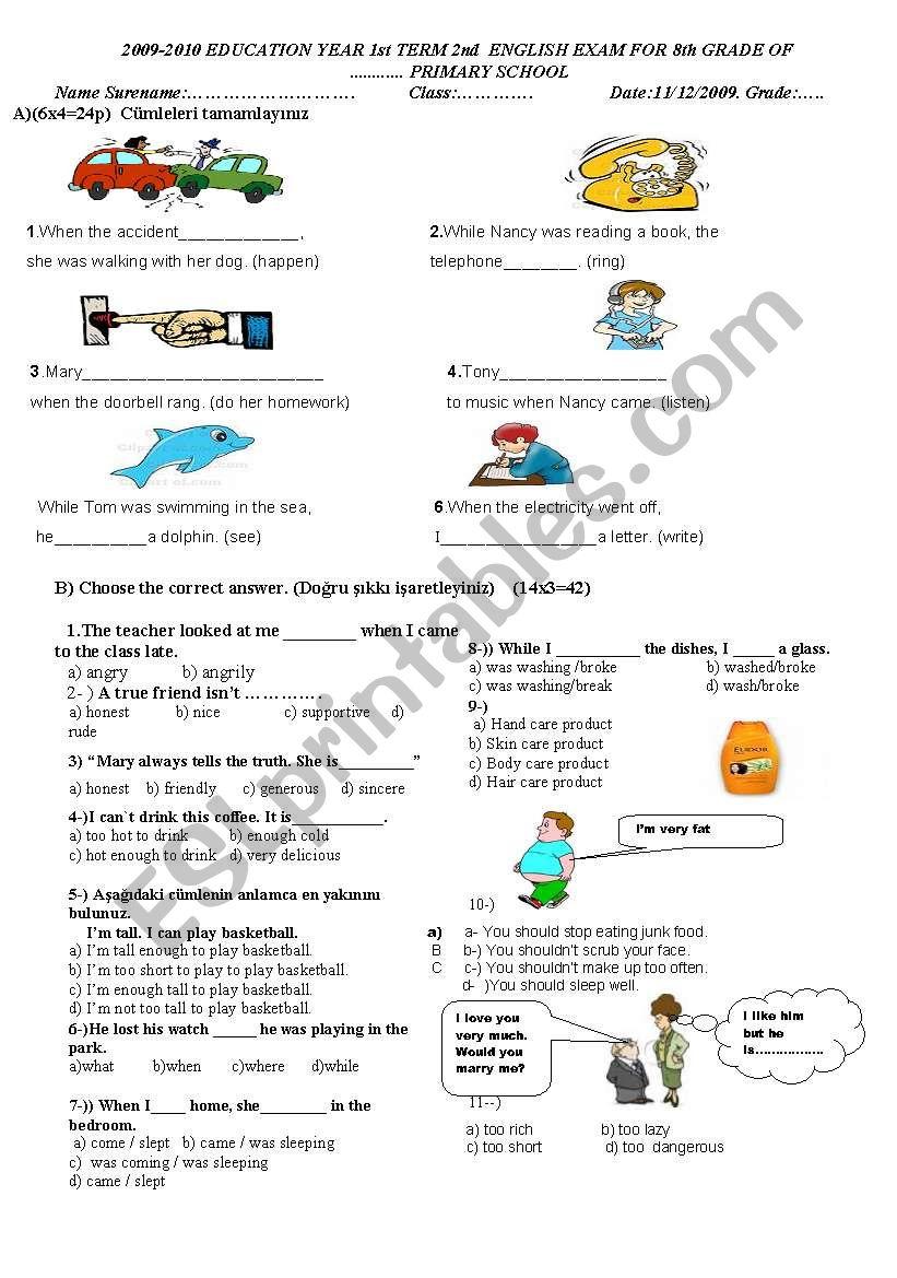 8th grade 2nd term 2nd exam worksheet
