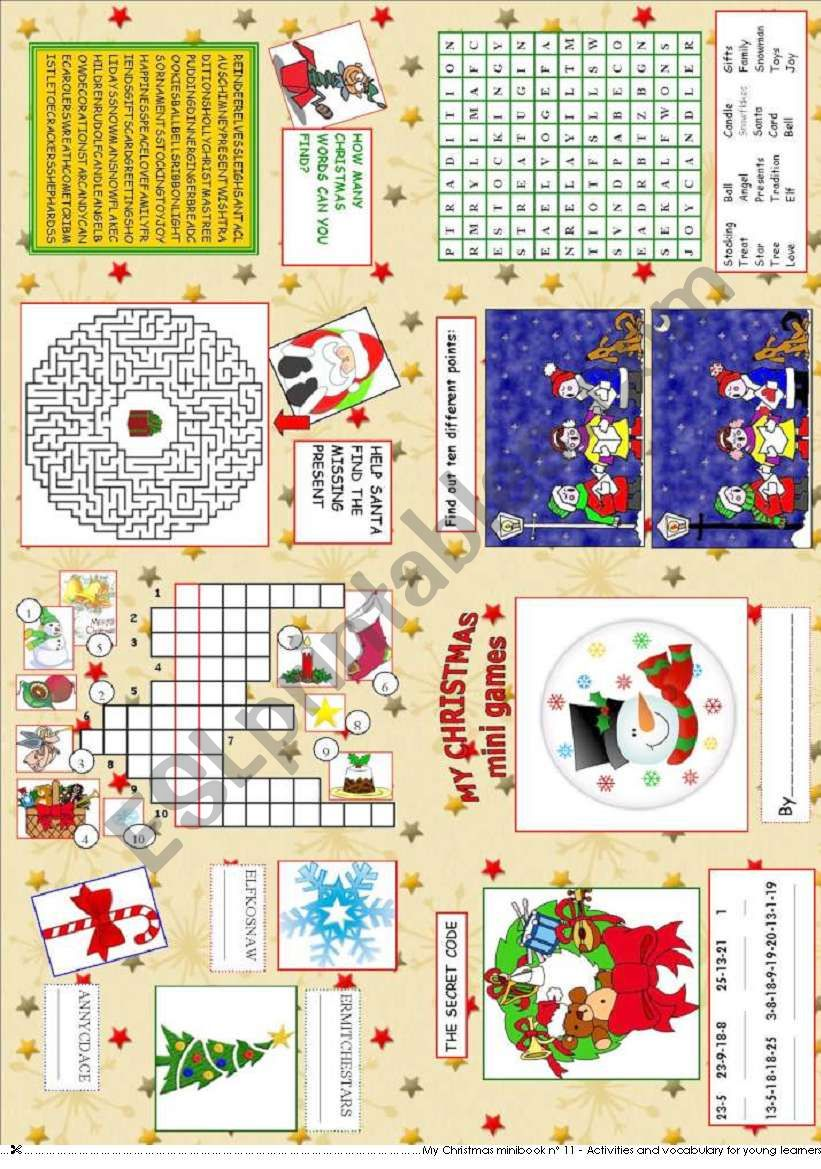 My Christmas mini games worksheet