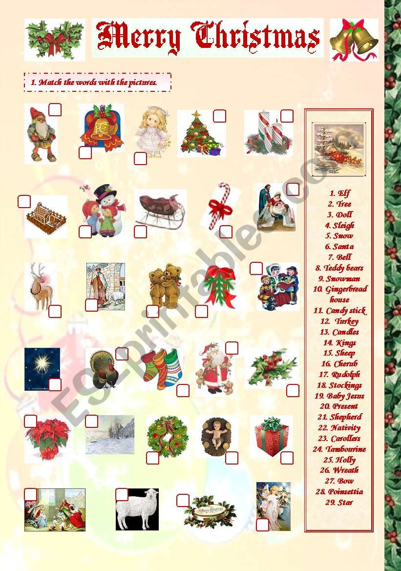 Merry Christmas matching worksheet