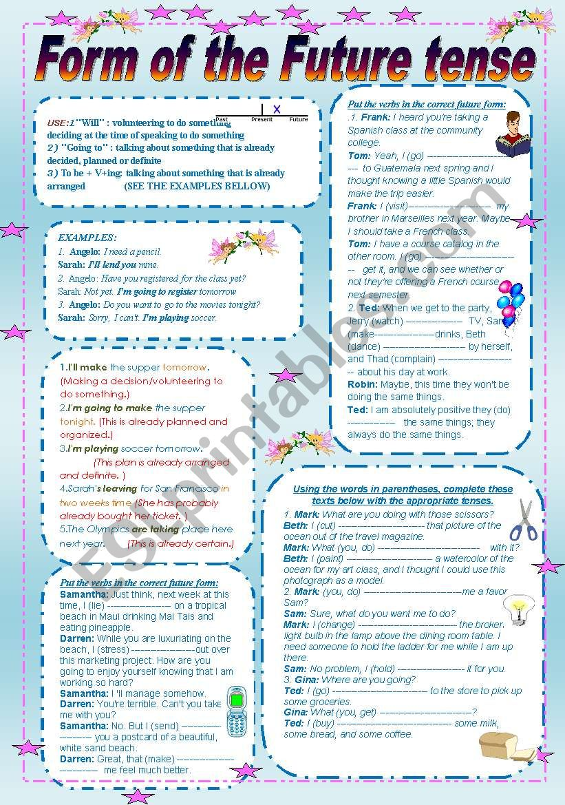 Form of the future tense worksheet