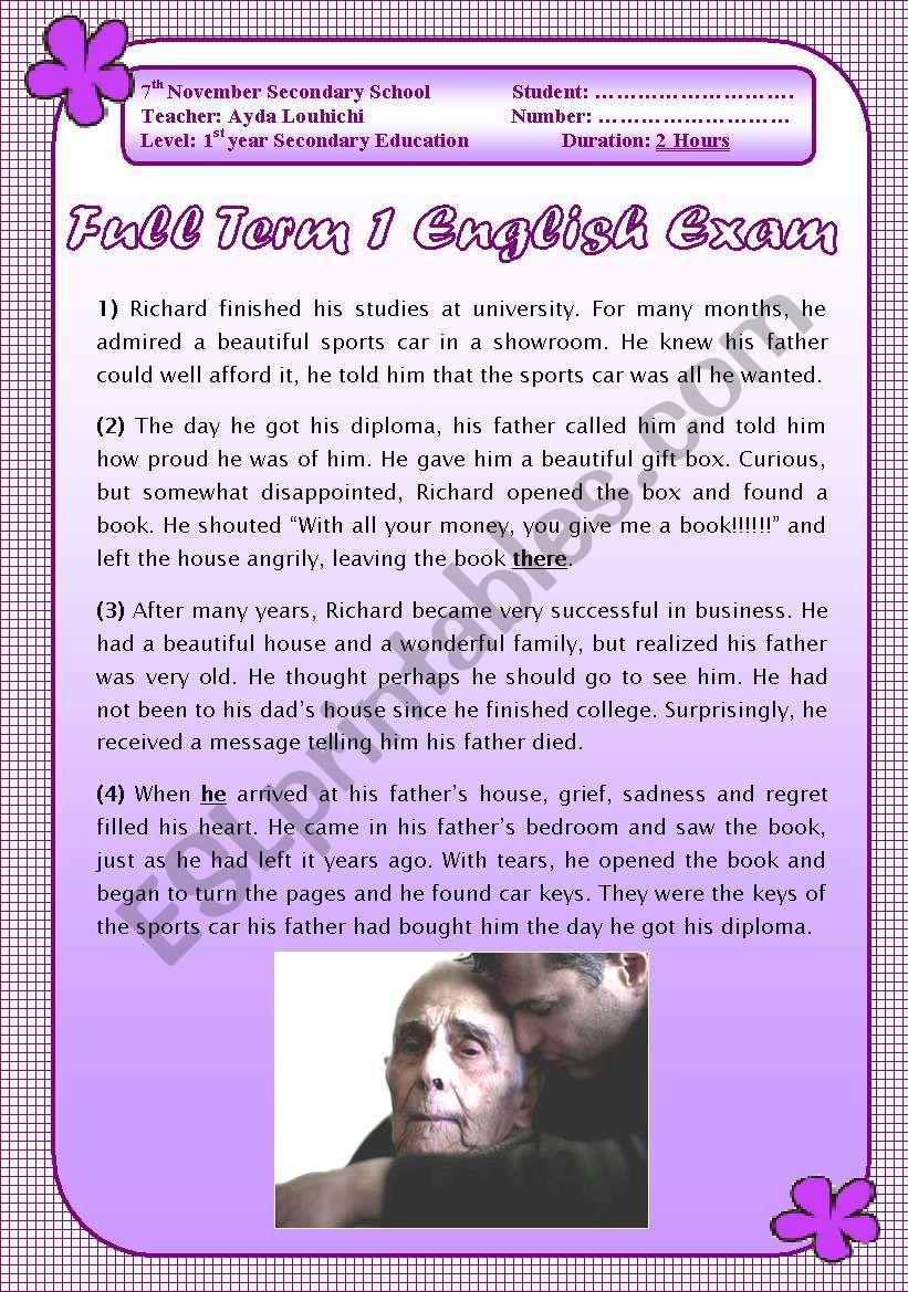 English Exam: end of term 1: 1st grade secondary schol