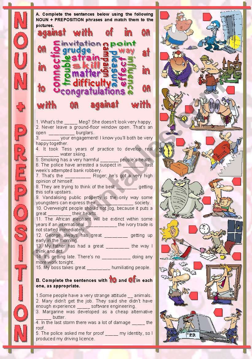 NOUN + PREPOSITION worksheet
