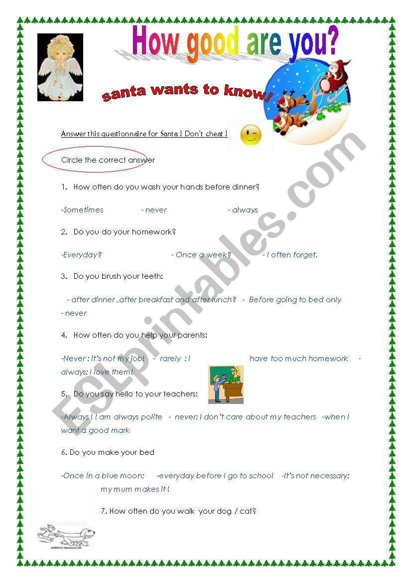 A questionnaire from Santa for naughty boys and girls at Christmas
