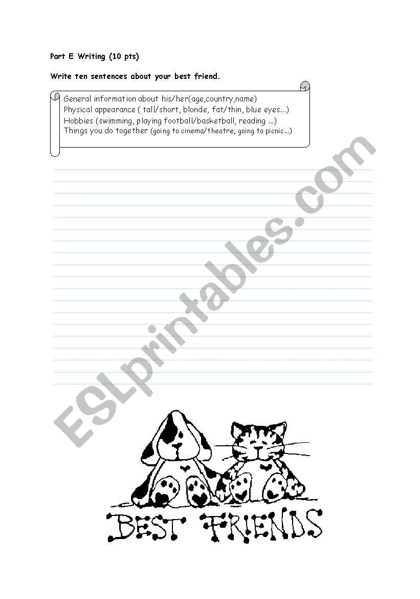 write about your best friend worksheet