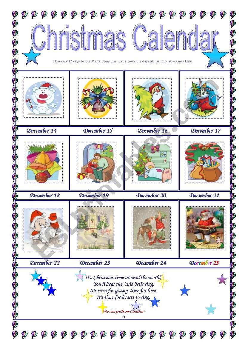 Xmas Calendar worksheet