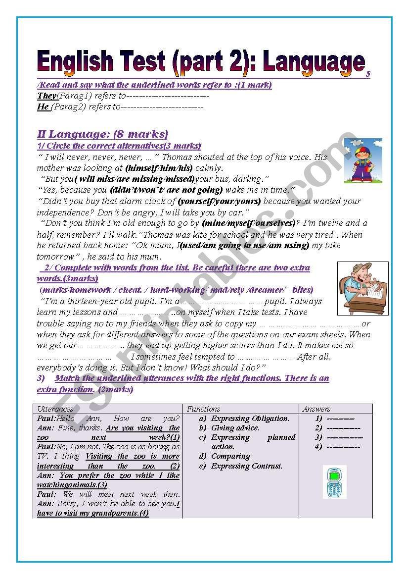 English test (part2): (9thform end of term 1)Language: Grammar+ Vocabulary