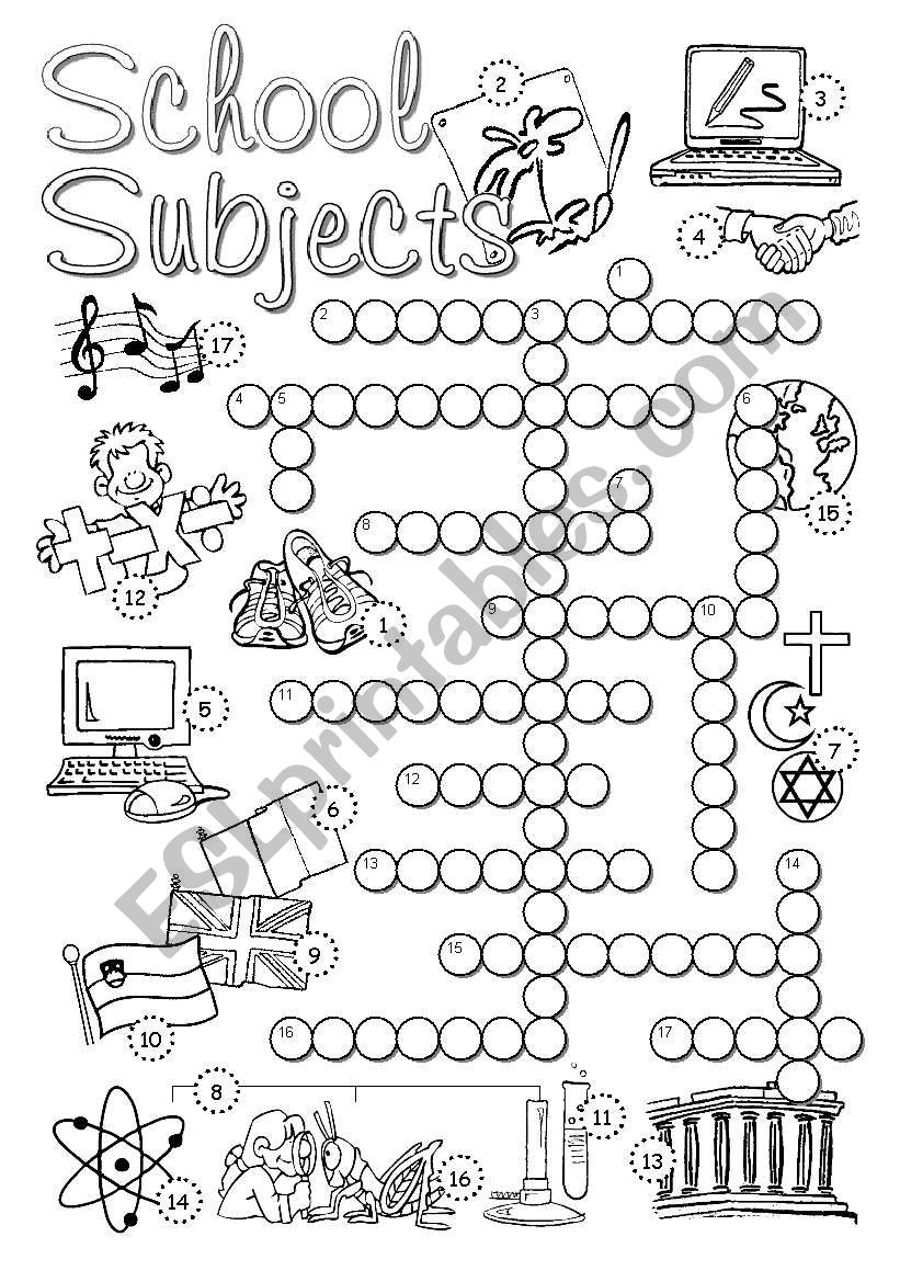 School Subjects Crossword worksheet
