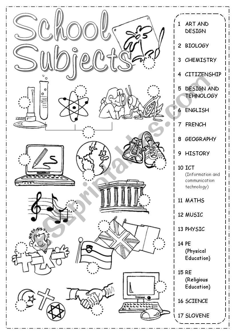 School Subjects Pictionary worksheet