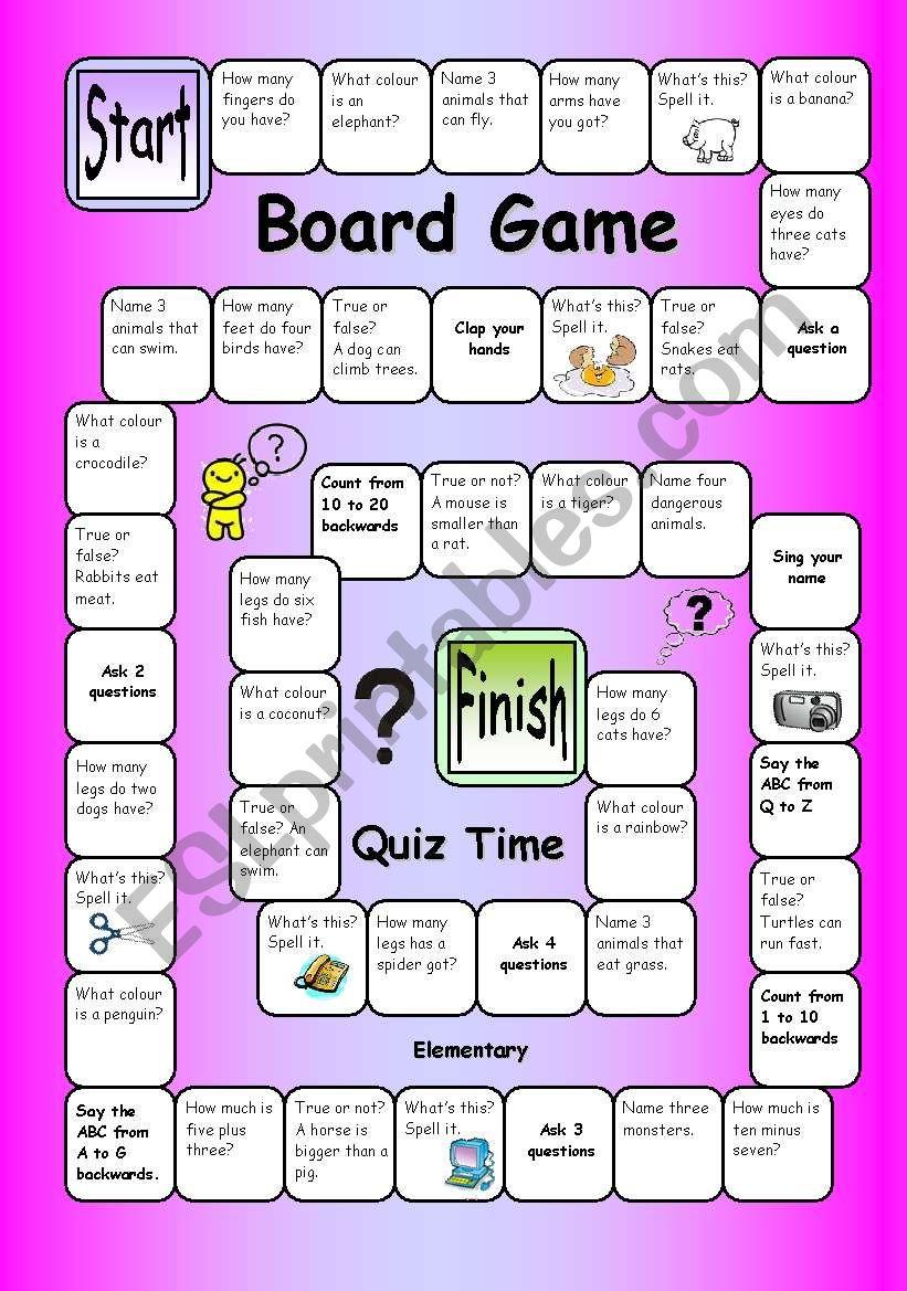 board game  quiz time easy  esl worksheetphilipr