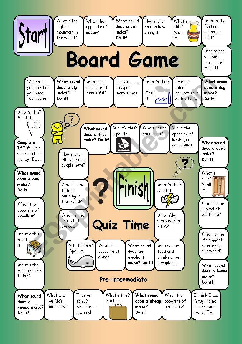 board game quiz time pre intermediate esl worksheet by philipr. Black Bedroom Furniture Sets. Home Design Ideas