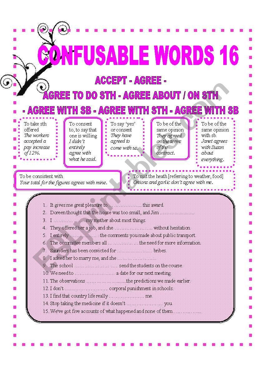 CONFUSABLW WORDS 16 worksheet