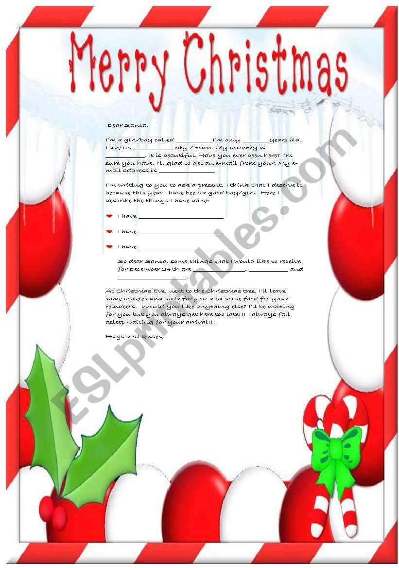 A letter to Santa Claus II worksheet