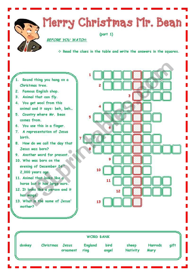 Merry Christmas Mr. Bean - - - 3 pages - - -