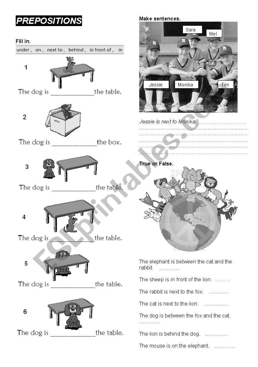 PREPOSITIONS - under, on, in, behind, in front of, next to - ESL worksheet  by katek74