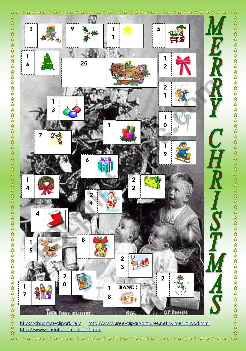 CHRISTMAS CALENDAR + VOCABULARY AND SPEAKING ACTIVITIES (3 PAGES)