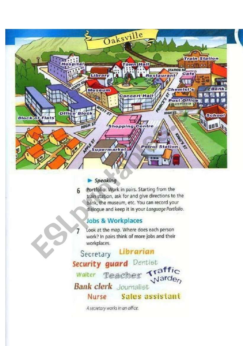 giving directions practice map esl worksheet by ereslopeoor. Black Bedroom Furniture Sets. Home Design Ideas
