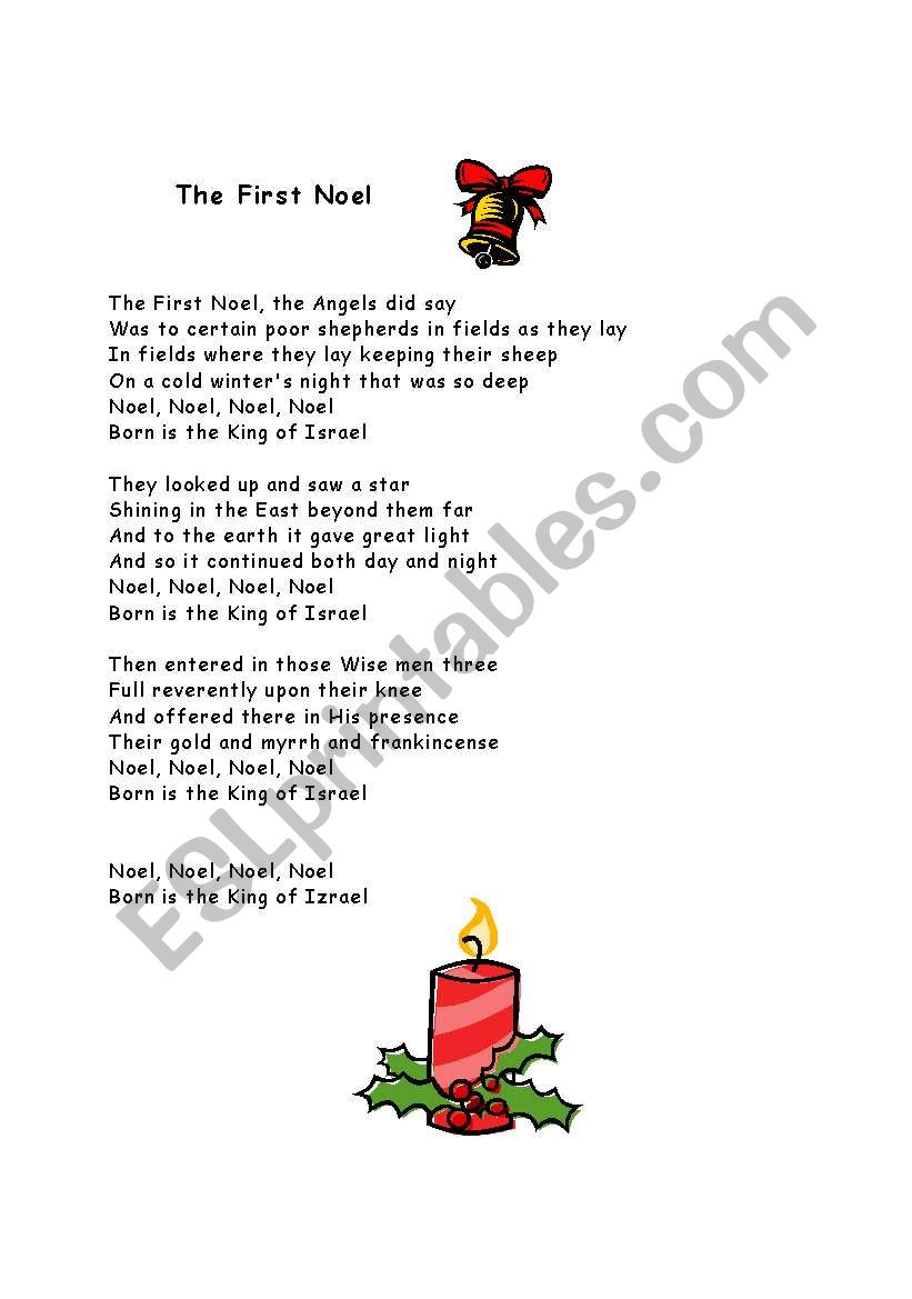 A Christmas song: The First Noel - ESL worksheet by peggy33