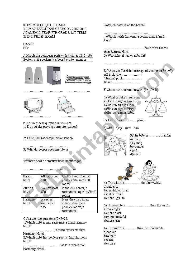 my english 2nd exam 7 grade - ESL worksheet by dileking54