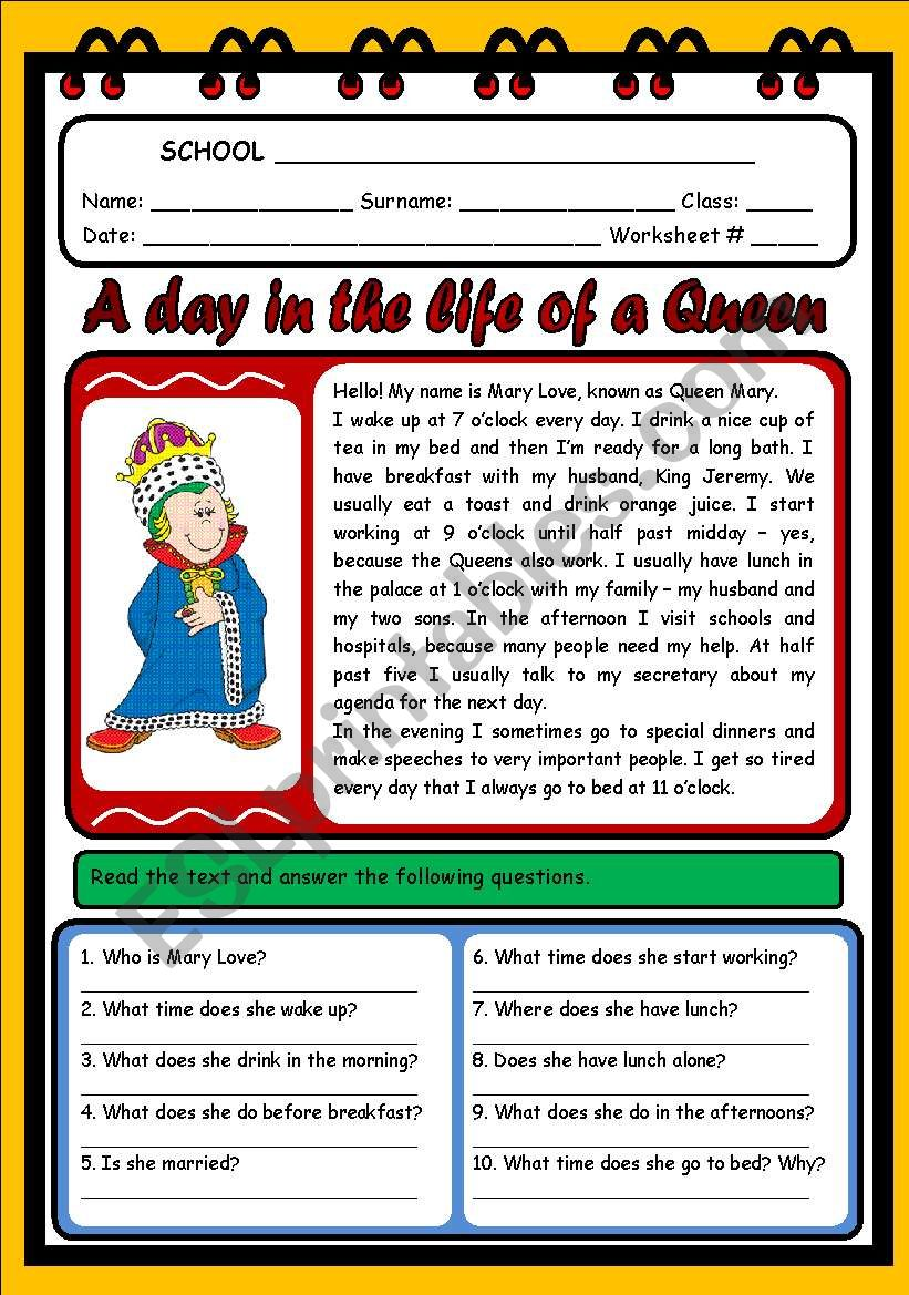A DAY IN THE LIFE OF A QUEEN worksheet
