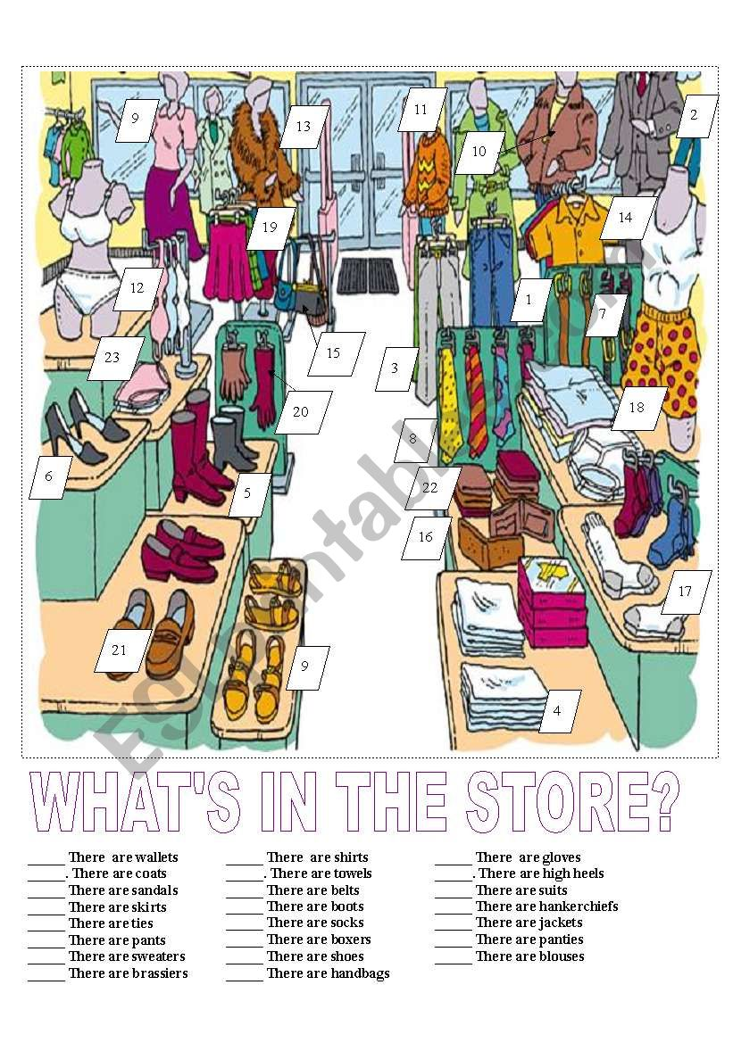 The Clothing Store Match worksheet