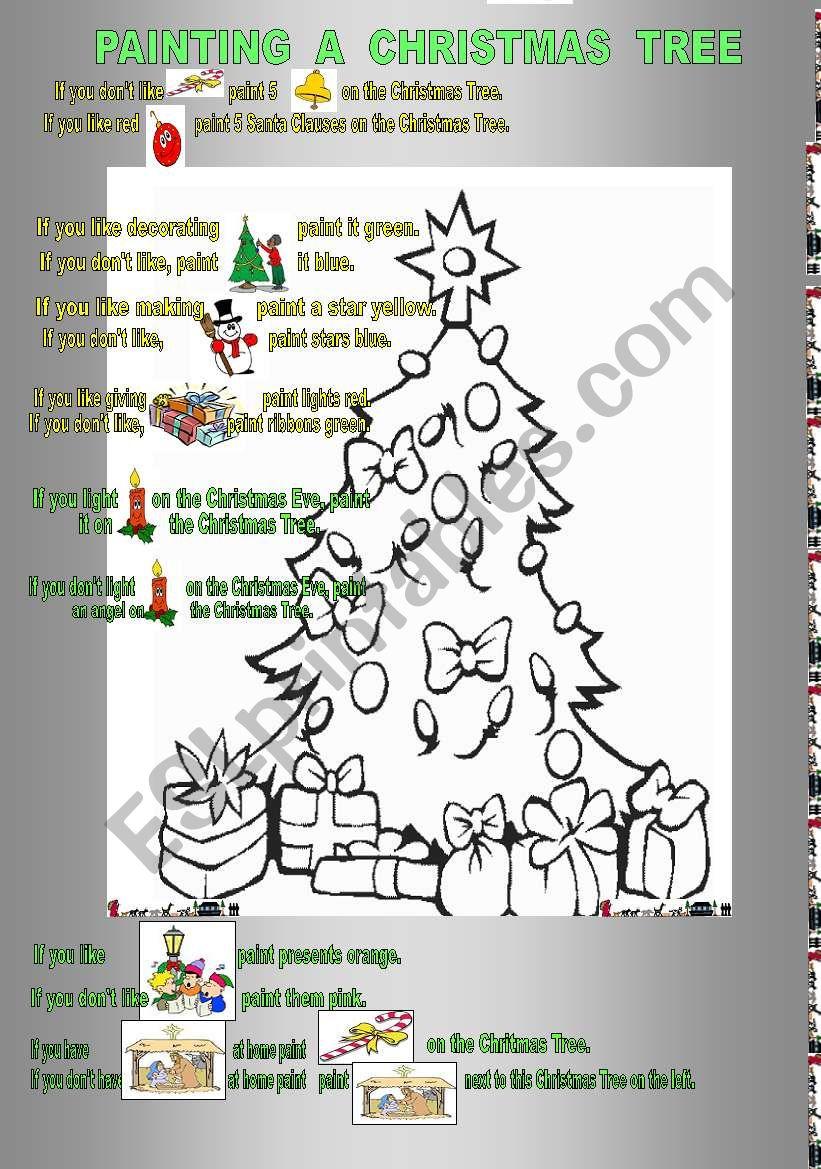 Painting the Christmas Tree worksheet