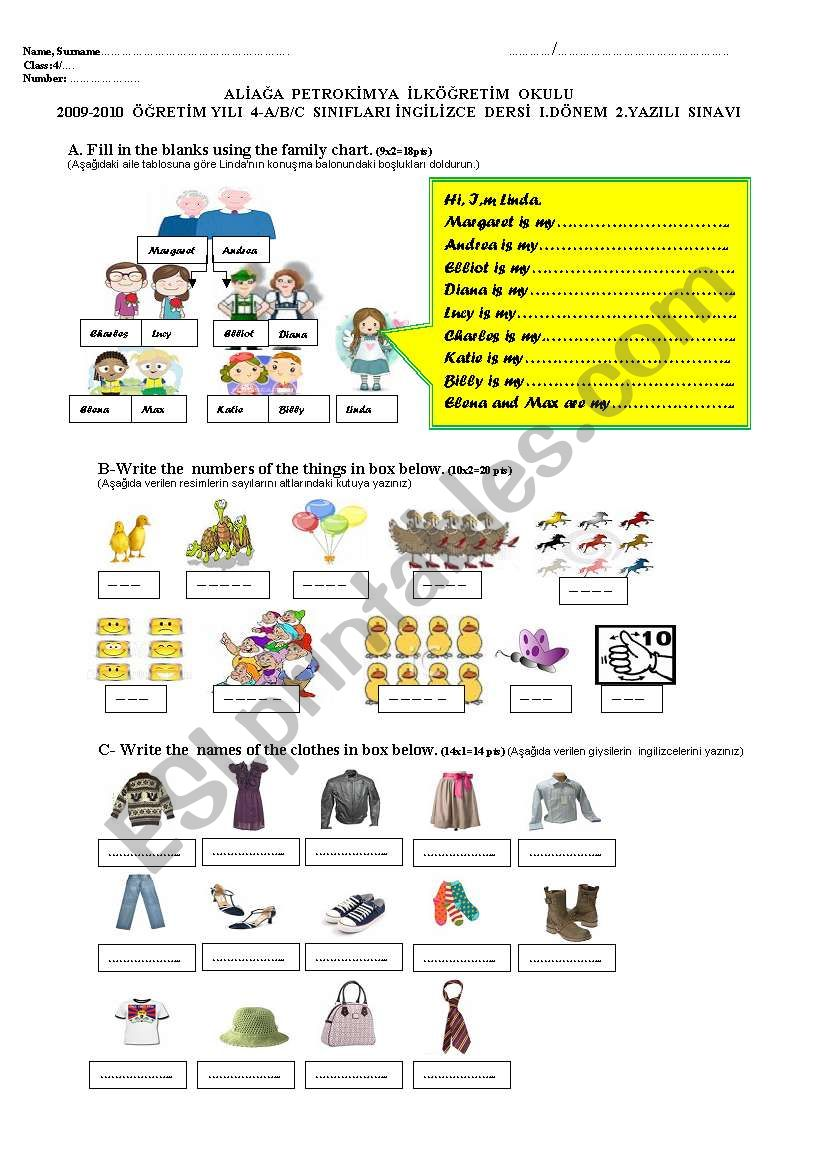 2009/2010, 1st term,2nd exam or worksheet for 4th grade (part one)