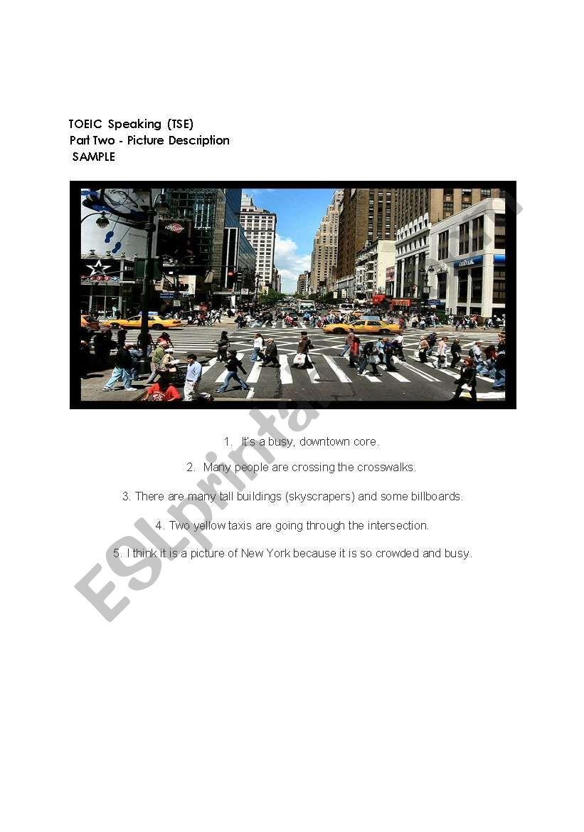 TOEIC Speaking Part 2 Sample worksheet