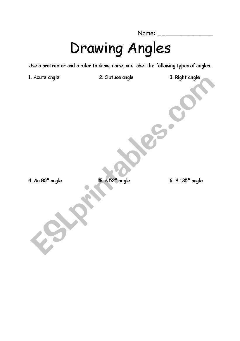 English Worksheets Drawing Angles