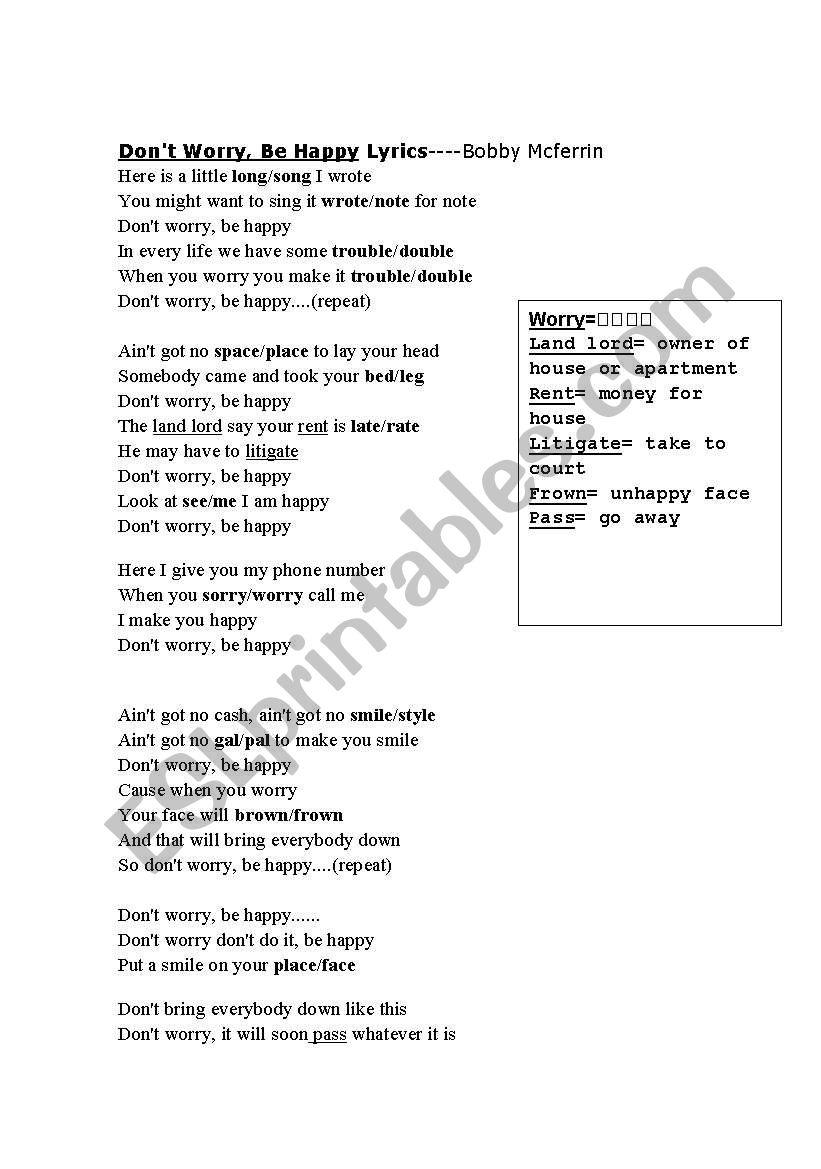 Don´t Worry, Be Happy Lyrics - ESL worksheet by millies