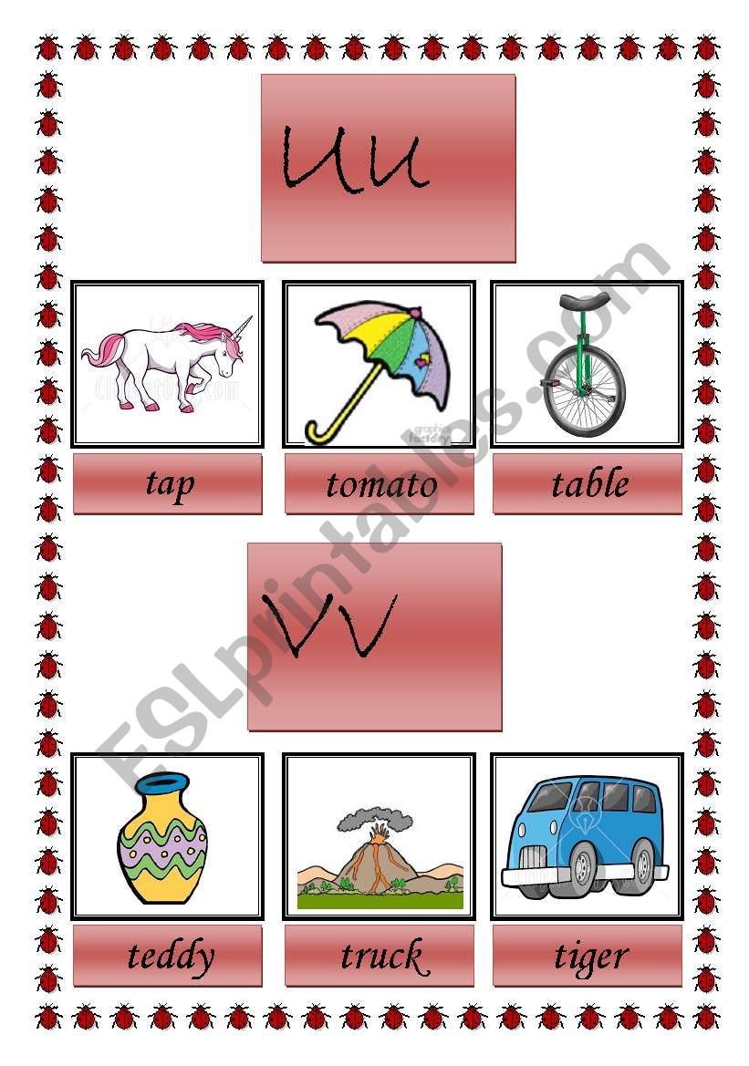 picture dictionary U, V and W ( 2 pages)