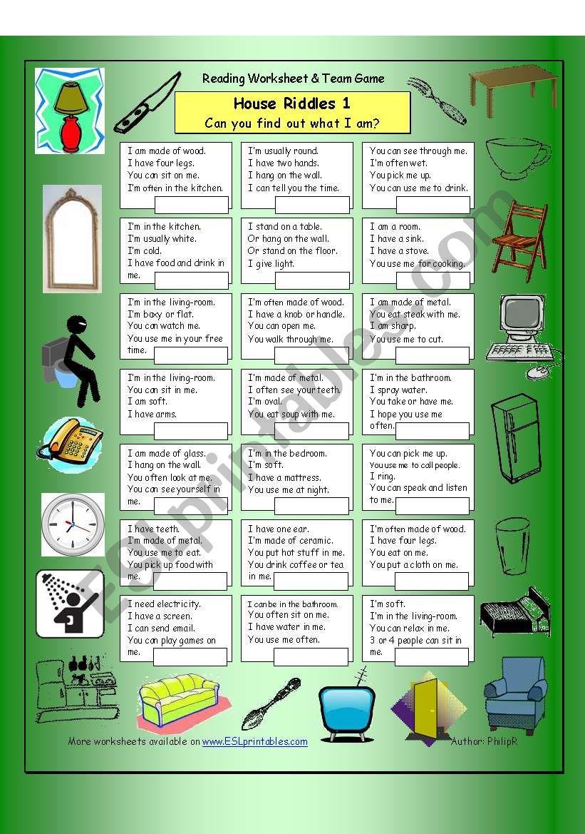 House Riddles (Easy) worksheet