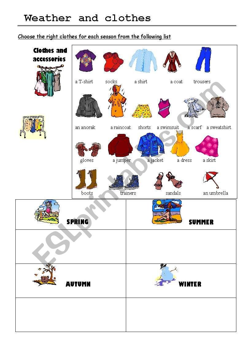 weather and clothes esl worksheet by minie. Black Bedroom Furniture Sets. Home Design Ideas