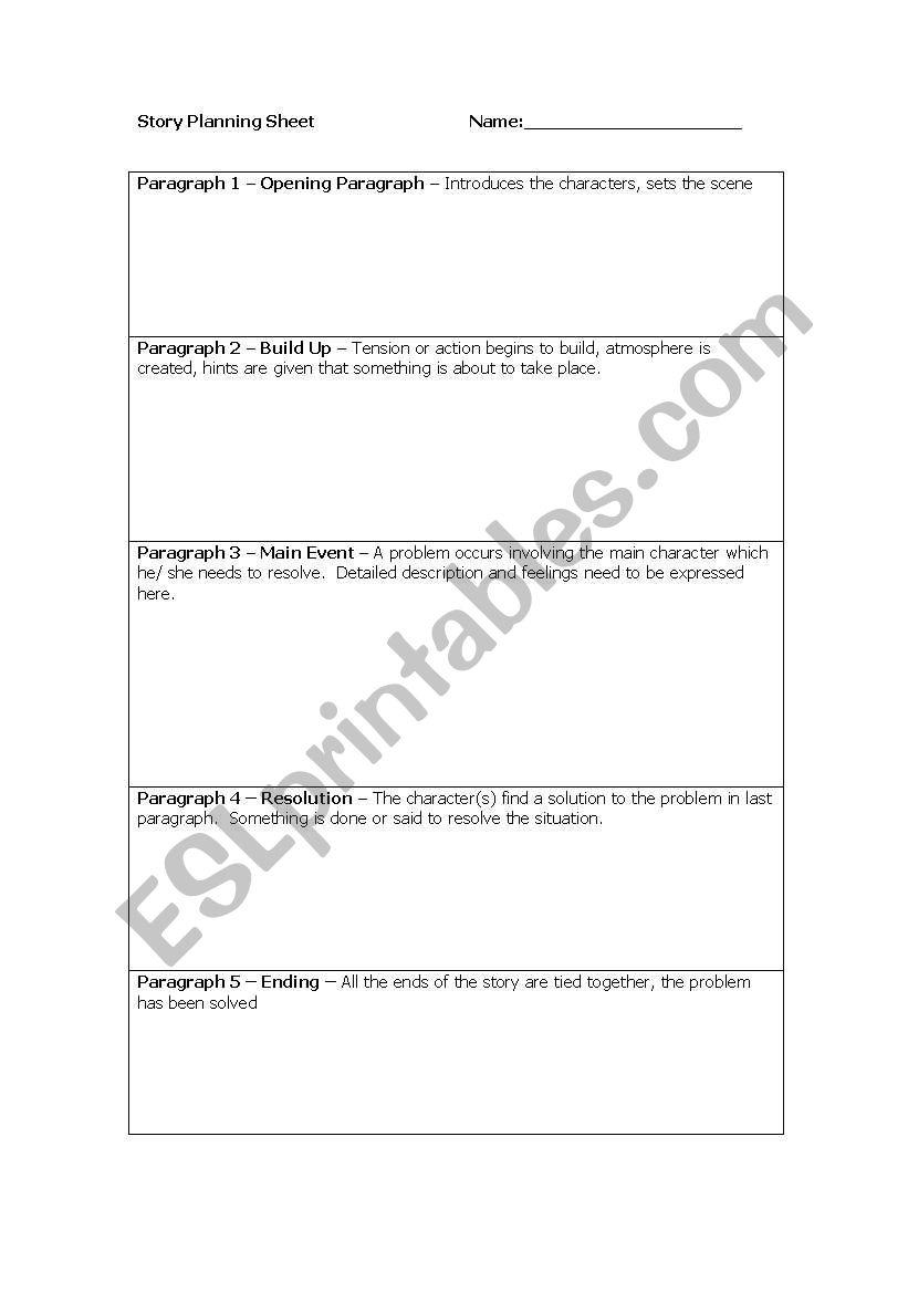 english worksheets story planning sheet. Black Bedroom Furniture Sets. Home Design Ideas