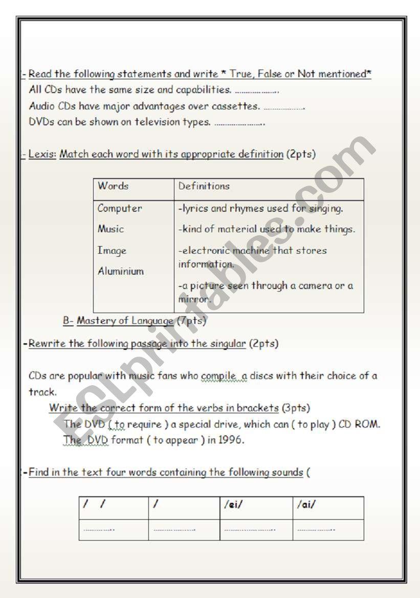 The CDs test of English Reading/ Grammar/Pronunciation - ESL