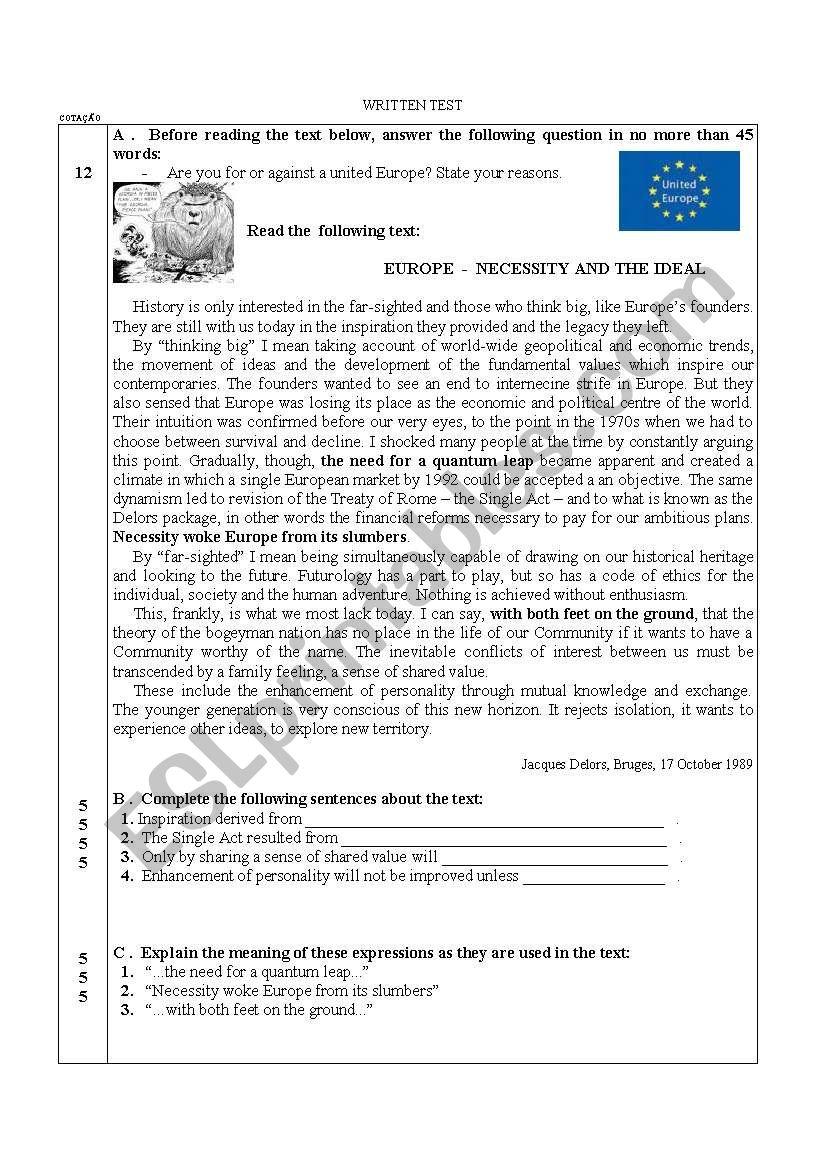 Test on Europe worksheet