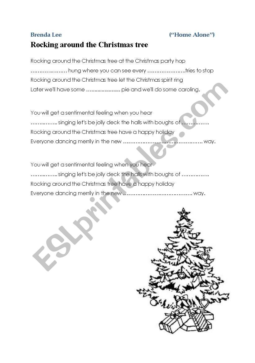 """"""" Rocking around the Christmas tree """" - from """"Home Alone"""" - song / carol - ESL worksheet by m19m"""