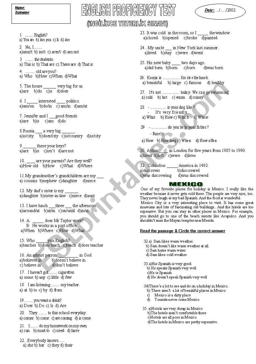 proficiency test worksheet