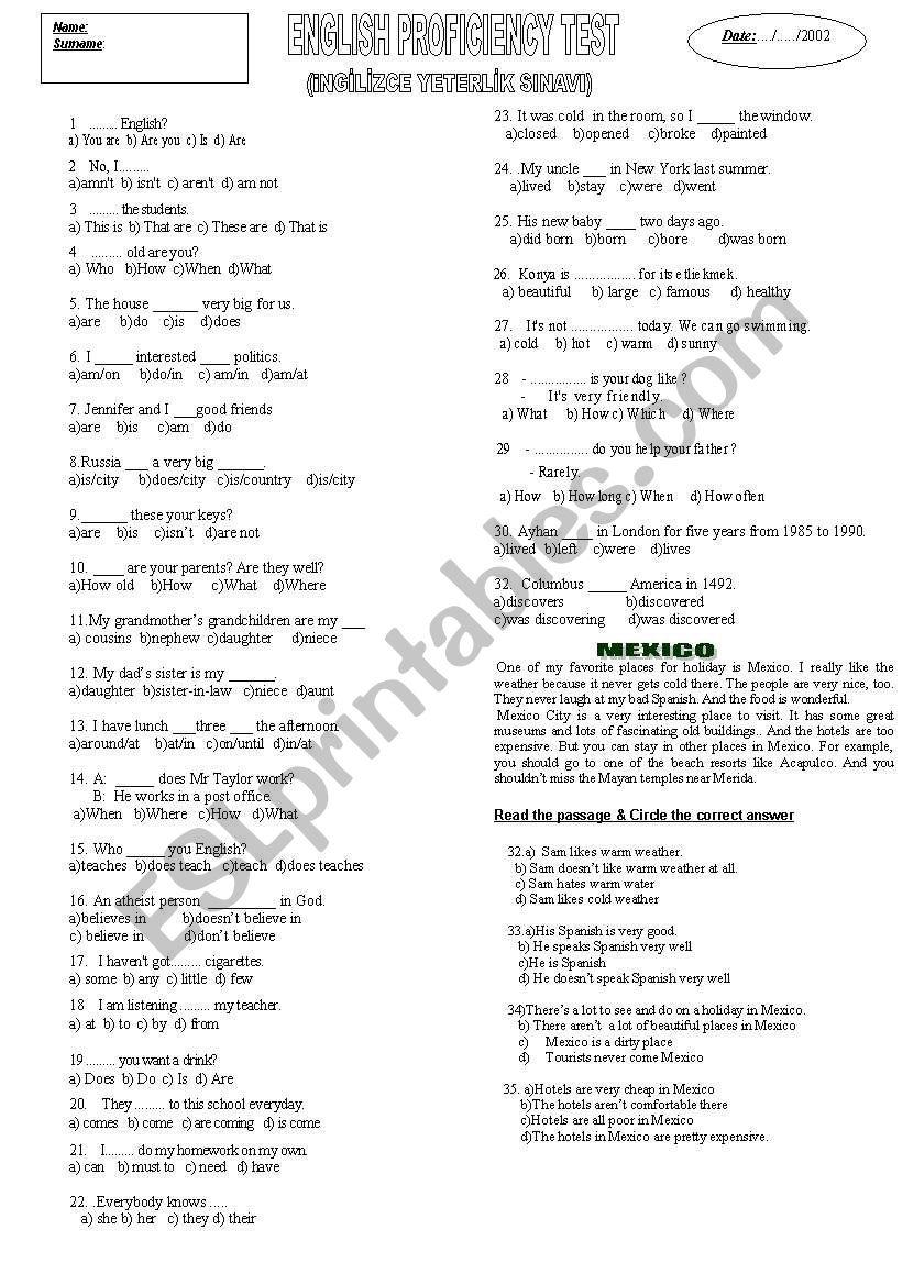 proficiency test worksheet
