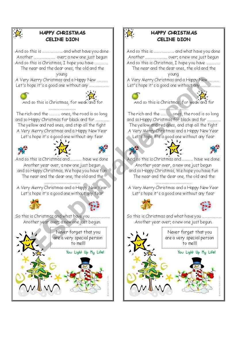 Happy Christmas The War Is Over By Celine Dion Esl Worksheet By Goodboyboy