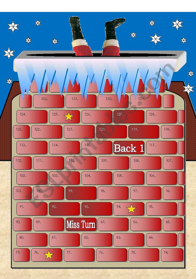 Santa is Stuck in the Chimney! 2 Page Board Game with over 100 spaces (72 word cards included)